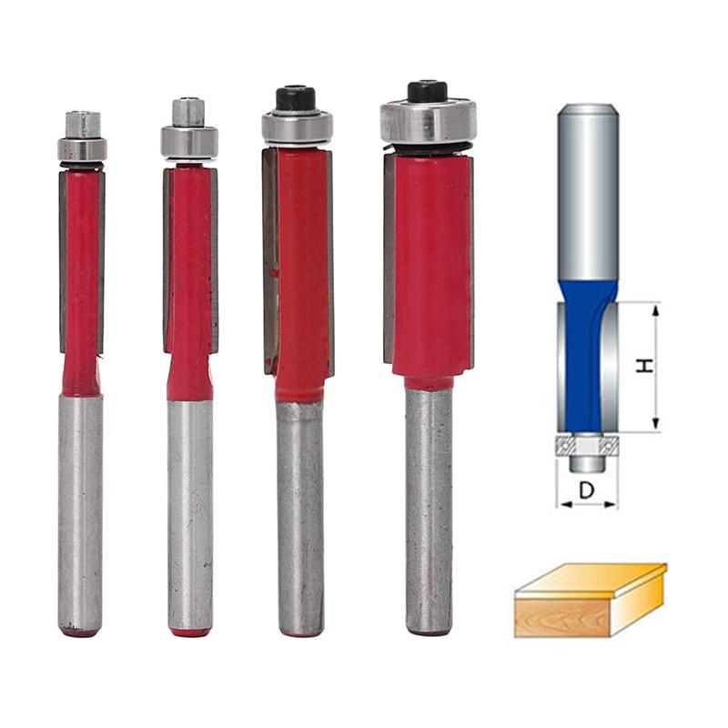 4Pcs 6/8/10/12mm Flush Trim Bit Carbide Tipped For 1/4 Shank Router Bits<br><br>Aliexpress