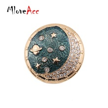 MloveAcc Brand 2017 New Arrival Fashion Design Enamel Crystal Moon Space Star Costume Brooch pins Jewelry Accessories for Women