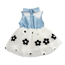 2017 New One-Piece Cute Baby Kid Girl Clothes Denim Shirt Tulle Princess Tutu Dress