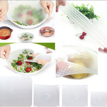 New 4pcs Multifunctional Food Fresh Keeping Saran Wrap Kitchen Tools Reusable Silicone Food Wraps Seal Cover Stretch ZH450