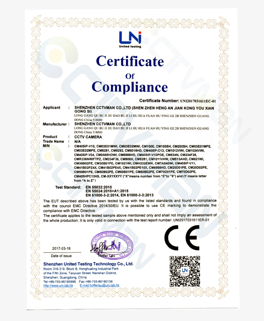 ce certification of cctvman ip camera 900
