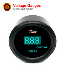 "52mm 2"" Black Car Motor Digital Blue LED Volt Gauges Warning Volt Meters Gauge(China)"