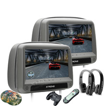 "XTRONS Monitors 2x9"" HD Digital Panel Leather Cover Car Headrest DVD Players with Zipper Design HDMI Port + 2pcs headphones"