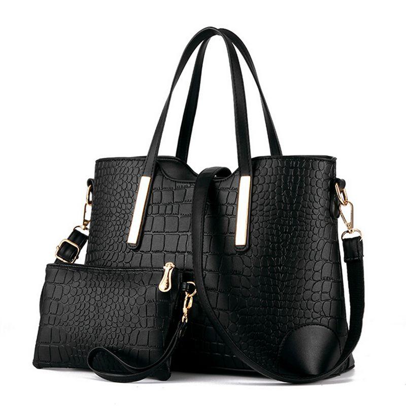 2017 women handbag leather hand bag michael crocodile crossbody bag shoulder messenger bags clutch tote+purse 2 sets sac F40-777<br><br>Aliexpress