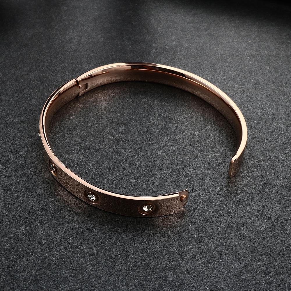 Trendy Rose Gold Love Bracelets Bangles Women Gold Color Stainless Steel Charming CZ Cuff Bracelet Lovers Luxury Brand Jewellery 17