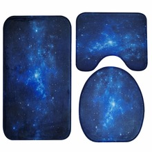 Honlaker Blue Nebula Bath Mat 3 Pieces/Set Bathroom Toilet Cover Rug Water Absorption Antiskid Floor Mat(China)