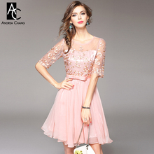 spring summer runway designer womans dresses lavender pink ball gown cocktail party event dress flower embroidery cute dress