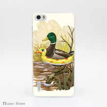 1074CA DUCK IN TRAINING Transparent Hard Cover Case for Huawei P6 P7 P8 P9 Lite Plus Honor 4X 4C 6 7 G7