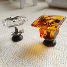 27MM*29MM Doctor cap Acrylic Crystal Knob Drawer Cabinet Kitchen Handle Cupboard Wardrobe Pull Handle Clear Amber Drawer Pulls(China)