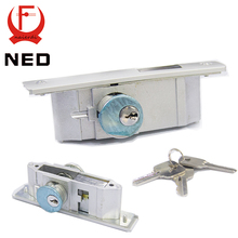 NED Metal Sliding Door Special Aluminum Alloy Door Lock Frame Heavy Glass Wooden Door Locks For KFC McDonald(China)