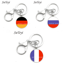 Vintage Germany and Russia and France Flag Pendant Key Chain Jewelry Women/Men Bag Keychain Round Glass Silver Plated Key Ring