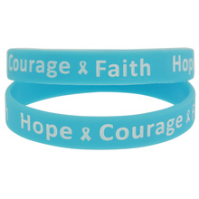1piece Hope Courage and Faith Cancer Awareness Silicone Wristband Bracelet(China)