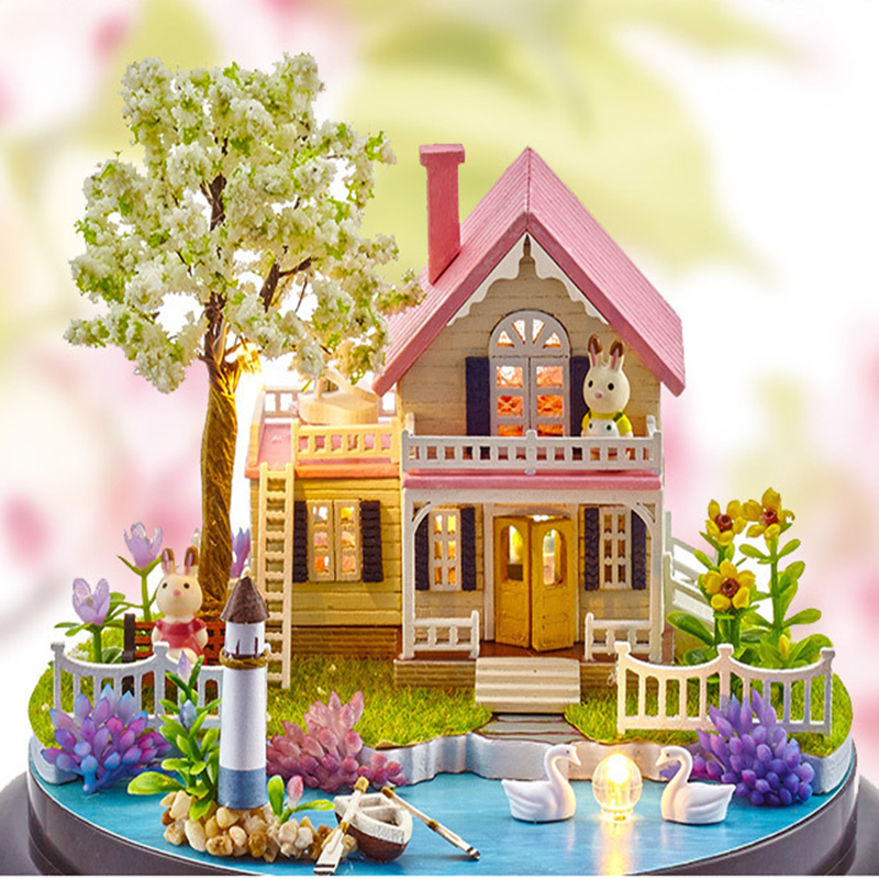 DIY Room Fashion Wooden Assembled Mini Cottage Miniature Happy Ferris Wheels One Set Doll House Furniture Wood Miniatura Toys (9)