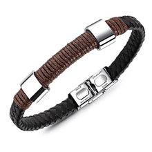 European Men Meaningful Color Matching Black Leather Bracelet Wholesale Stainless Steel Magnetic Snap Rope Bracelet(China)