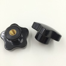 M8 x 50mm Dia Thread Black Plastic Star Head Clamping Knob Grip 2pcs