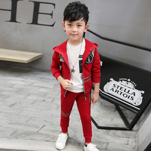 Children's wear cap zipper jacket, spring and autumn sets of Hooded long sleeve of two sets of children(China)