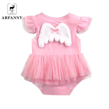 AR FANNY Newborn baby conjoined. Female baby angel wings modeling pompon dress. Little girl summer dress(China)