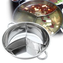 Stainless Steel Hot Pot Three Divided Cookware Induction Little Sheep Pot Hot Pot Ruled Compatible Cooking Tools