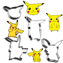 4pcs/lot PIKACHU Stainless Steel Cookie Cutter Set Cake Decorating Tools Sugarcraft Cutter Bakeware