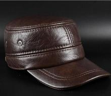 New leisure men's leather leather Kepi winter ear warm hat men peaked cap(China)