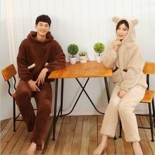 Big Promotion!!Fashion Autumn/Winter Couple Pajamas Indoor Clothing Home Suit Men/Women Sherpa Long sleeve Trousers Sleepwear