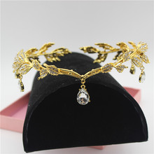 Sparkly Crystal Gold Leaves Women Bridal Headband Bride Head Chain Headpiece Rhinestone Tiara Wedding Prom Hair Accessories