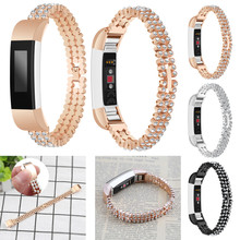 New Watchbands Flash Diamant Genuine Stainless Steel Watch Bracelet Band Strap For Fitbit Alta HR/Fitbit Alta Watch(China)