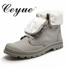 Ceyue Hot Sale Men Canvas Boots Warmest Winter Plush Skateboard Shoes Lovers Lace Up Fashion Gothic Motorcycle Boots Size 35-44(China)