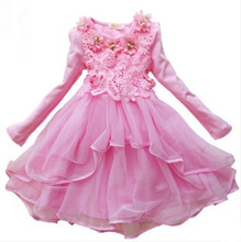 Promotion! Girl Dress Birthday Dress for Baby Girl Party Kids Flower Girl Dress long sleeves dress