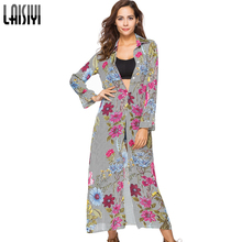 LAISIYI Spring Floral Print Long Shirt Dress Women Chiffon Bohemian Long Sleeve Beach Casual Cute Striped Dresses ASDR20637(China)