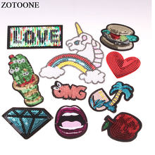 ZOTOONE Cartoon Colorful Sequins DIY Patch Applique Sew on Patches Badges  for Clothes Bag Clothing Coat Jeans T-shirt Craft E 855b1ddbd01b
