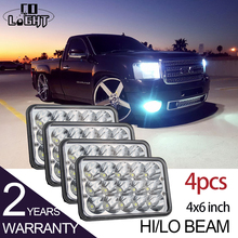 CO LIGHT Rectangle Headlight 2 Pairs 45W 27W Cree Chips High Low 4X6'' 6000K Truck Light for Kenworth Foden Gmc C4500/C5500