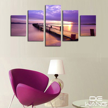 5 Pieces Canvas Wall Art Lavender Purple Color Lake Canvas Wall Art Modern 5 Panel Giclee Artwork For Living Room Oil Painting