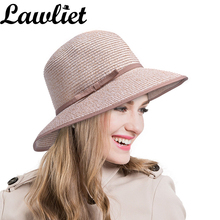 Women Summer Hats Women's Woven Straw Face-Saver Hat UV Protection Floppy Sun Cap 9cm Wide Brim Beach Hats Tea party With Edge(China)