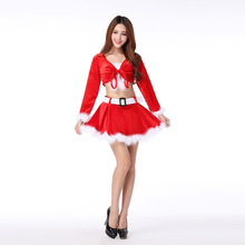 Hot Sale Christmas Party Dress Women Gift Sexy Skirt Feather Short Tops Christmas Halloween Ladies Dress Santa Claus Costumes