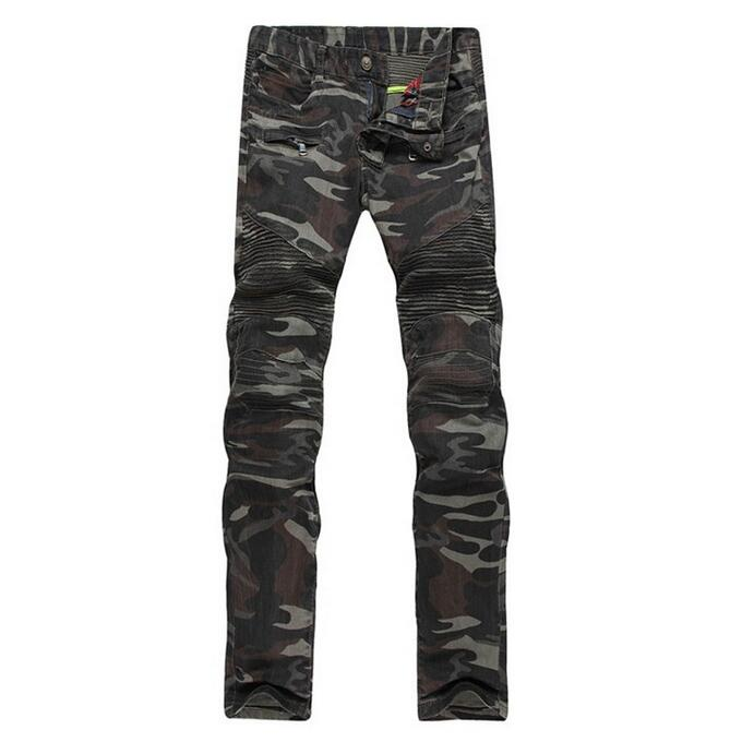 Men Camouflage Biker Jeans Military Style Army Denim Pants New 2017 Slim Fit Male Motorcycle Camo Print Punk Jeans Free ShippingОдежда и ак�е��уары<br><br><br>Aliexpress