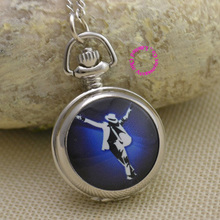 wholesale Fashion michael jackson quartz Pocket Watch Necklace Women Ladies girl fob watches mirror white blue antibrittle