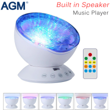 AGM Ocean Waves Starry Sky Aurora LED Night Light Projector Luminary Romantic Cosmos USB Lamp Music Speaker For Hoom Decor Gift