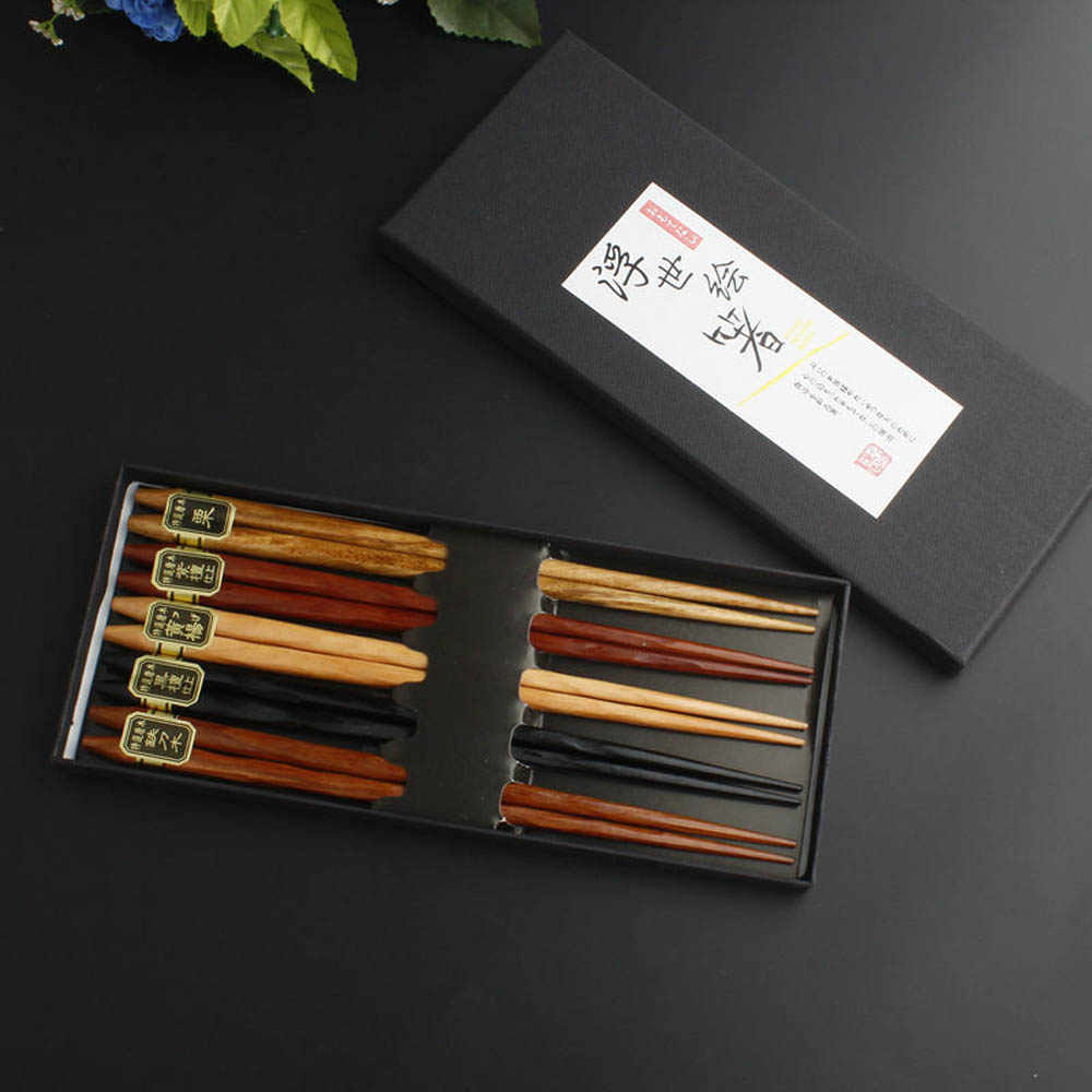 5 Pairs Japanese Korean Chopsticks Reusable Natural Wooden Chopsticks Chinese Set kitchen wooden cutlery eco-friendly Handmade