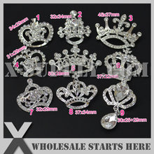 (20pcs/lot) Silver Crown Metal Rhinestone Embellishments Brooch for Wedding Invitation,Party Decorations,Mixed 9 Designs