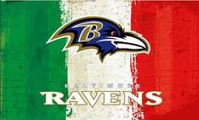 Green white red Stripes Baltimore Ravens flags 3ftx5ft Banner 100D Polyester Flag metal Grommets 19503(China)