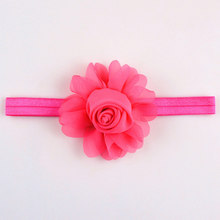 "26 colors chiffon rose flower headbands for girls,3.5"" rose hair flower with elastic head bands neon rose and green etc."