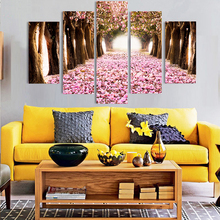 5 piece forest modern wall art high-definition screen printed images picture living room decoration pink flower 5 pieces picture(China)