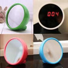 Mini Creative Mirror Surface LED Clock Night Light Electronic Alarm Clock Desktop Clock For Living Room Office
