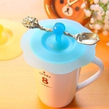 10.3cm Silicone Glass Cup Cover Anti-dust Cup Cover Cartoon Cup Cover Novelty Gift Can Be Fixed a Spoon