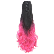 Soowee Long Black To Pink Synthetic Hair Wavy Claw Hair Ponytail Pony Tail Hair Extensions Heat Resistance Hairpiece(China)