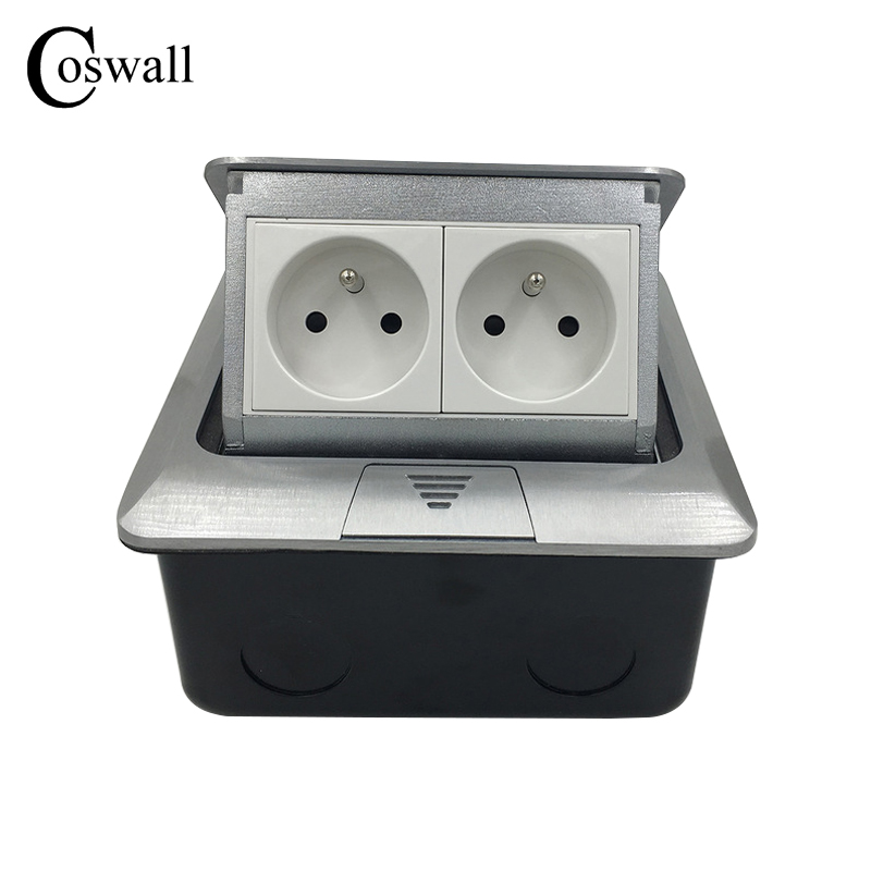 Manufacturer All Aluminum Silver Panel French Standard Pop Up Double Floor Socket 2 Way Electrical Outlet<br>