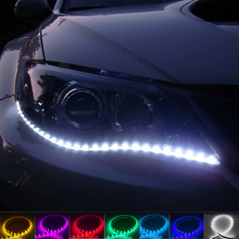 2PCS 12V 12 LED Daytime Running Light Soft Rubber Chip Bar DRL Design Car Lighting with Flexible and Waterproof Led Strip BJ(China)