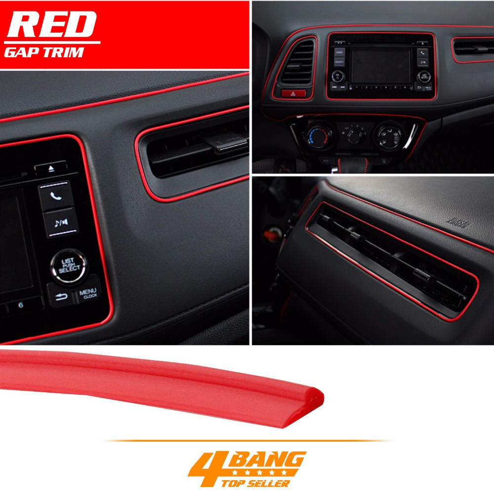 5M Red Door Panel Gap Trim Molding Moulding Strip Line Red For Car Accessory