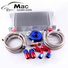AN10 OIL COOLER KIT 19ROWS TRANSMISSION OIL COOLER SILVER+OIL FILTER ADAPTER BLUE + STAINLESS STEEL BRAIDED HOSE(China)